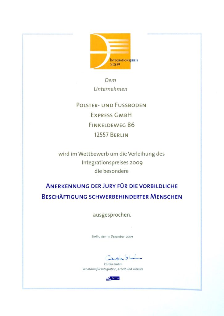Integrationspreis - Express Polsterei Mathan und Ritter - Ihre Polsterei in Berlin
